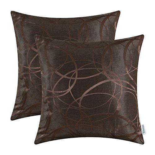 CaliTime Kissenbezüge Kissenhülle Packung mit 2 Wurfkissenbezüge Schalen für Couch Sofa Home Decor Modern Shining & Dull Contrast Circles Rings Geometric 50cm x 50cm Coffee