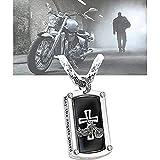 GUANXIN Bikers Blessing Halskette, Edelstahl AnhäNger Fashion Halley Motorrad Motorfahrrad Moped Zwei RäDer Halskette HalsanhäNger FüR Herren 2PCSA