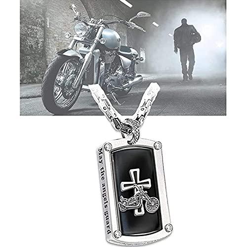 Biker's Blessing - BendicióN Del Motorista Collar Con Colgante Grabado, Acero Inoxidable Para Hombres, Punk, Hip Hop, OracióN, Cadena De Cuello Cruzado, Regalo De JoyeríA Para Motociclistas 2PCSA