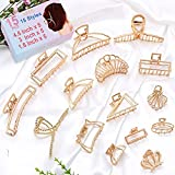 Metal Hair Claw Clips ,15Pack Metal Gold Hair Claw Clips With 15 Style Non-Slip Gold Hair Clips for Styling&Thick and Thin Hair ,Strong Easy Pulling Up Your Hair Clips Accessories for Women & Girls(4.5Inch+3Inch+1.6Inch)