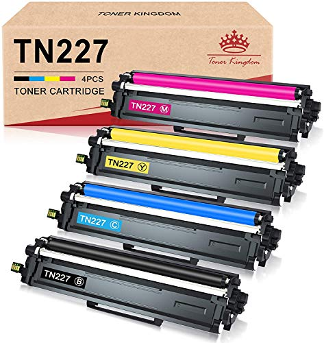 Toner Kingdom Compatible Toner Cartridge Replacement for Brother TN227 TN-227bk TN223bk TN223 for HL-L3210CW MFC-L3750CDW HL-L3290CDW MFC-L3710CW HL-L3230CDW HL-L3270CDW MFC-L3770CDW Printer (4 Pack)