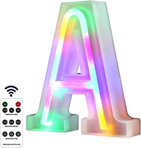 WARMTHOU Newly Upgrade LED Neon Letter Lights Marquee Alphabet Light Up Letters with Remote Control,USB/Battery Powered Light Up Letters for Home Decoration Colourful (RC-A)