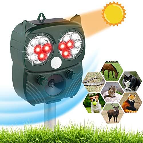Jteng - Ahuyentador por ultrasonidos profesional - Grado de protección IP66 impermeable - Sensor de infrarrojos LED de frecuencia ajustable para mantener alejados a ratones, perros, gatos y pájaros