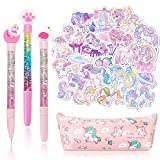 Qpout Unicorn Stationary Gift Set School Supplies, 1 Estuche de lápices Bolsa / 3 Bolígrafos de Gel / 23 Pegatinas de a Prueba de Agua Unicorn Flamingo Paw para niñas Adolescentes Cumpleaños de niños