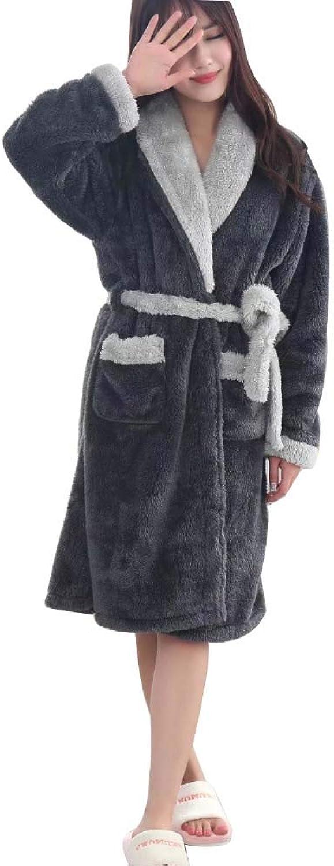 HONGLIAN Couples Robe Autumn and Winter Yukata Men and Women Highend Plush Soft Thick Solid color LongSleeved Pajamas Bathrobe HONGLIAN (color   Male, Size   L)