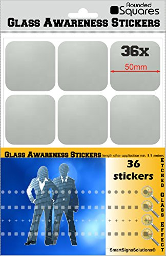 36 Rounded Squares Glass Awareness Stickers 50mm Etched Effect Frosted Film Patio Doors Shops Office Public Areas