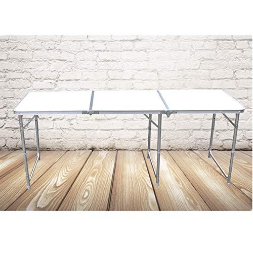 Yamyannie Mesa plegable plegable de mesa de picnic portátil adecuada para camping, playa, patio, barbacoa, fiesta al aire libre (color blanco, tamaño: 180 x 60 x 70 cm)