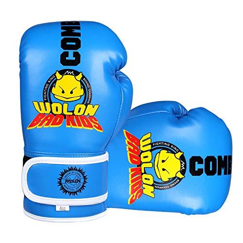 Kinder Boxhandschuhe 4oz Kinder Cartoon Sparring Boxhandschuhe Training Mitts Junior Punch PU Leder Alter 5–12 Jahre (blau 1)