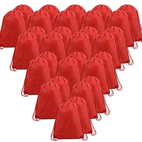 BeeGreen Red 30 Pack Bulk Drawstring Bags for Gym Sport Storage 13.5 x 16-Inch Large Drawstring Backpacks Gym Sack Sports Sackpack Men Women Teens