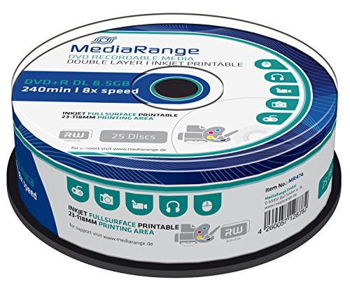 MediaRange MR474 DVD+R Double Layer 8,5GB (8 x Speed, bedruckbar, 25 Stück)