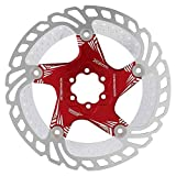 Keenso Disco de Rotor de Freno, Freno de Disco de Acero para Bicicleta de montaña, disipación de Calor con Tornillos T25, Accesorio de Ciclismo(Rojo)