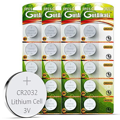 GutAlkaLi Batterie au Lithium CR 2032, Blister de 20 Piles Lithium 3V