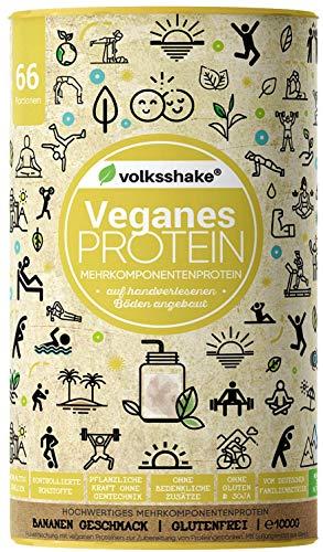 VEGANES PROTEIN Banane | Volksshake | 1kg mit 12 veganen Proteinen | mit natürlichen Enzymen| Mandel-, Hanf-, Chia-, Quinoaprotein | nachhaltig & ganzheitlich