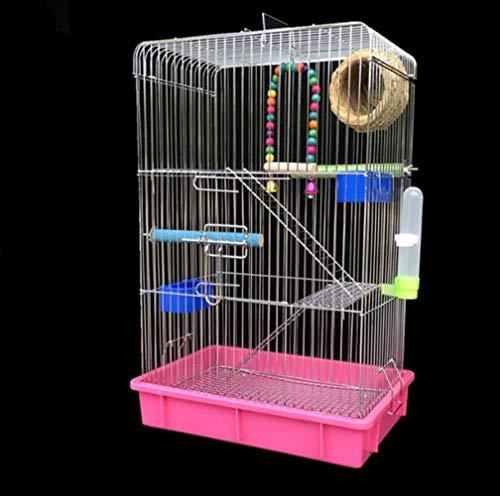 Aeon hum 鳥かご 鳥ケージ リスケージ バードゲージ 大型 豪華ケージ 銀色メッキ 大きい インコ オウムケージ オカメ セキセイ ボタン 附属品付き ピンク セット2