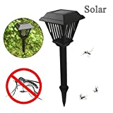 Solar Powered LED Light Pest Bug Zapper Insect Mosquito Killer Lamp Garden Light