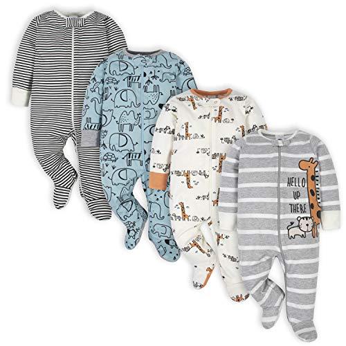 Gerber Baby-Boys - Pack de 4 pies para bebé, Azul (Jungle Blue), 0-3 Meses