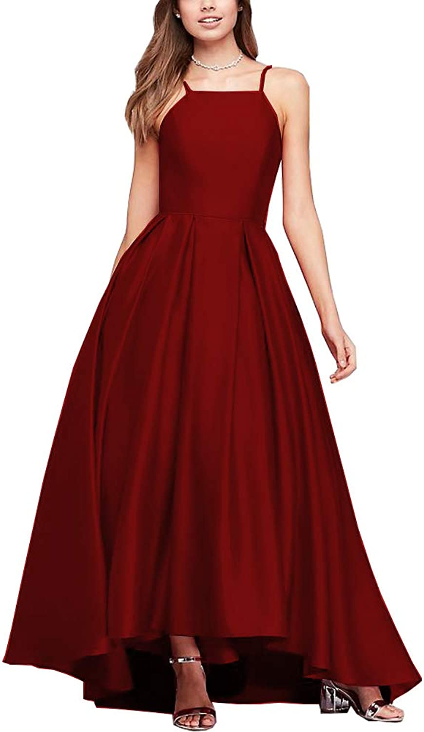 Now and Forever Womens Spaghetti Strap High Low Satin Prom Dresses Asymmetrical