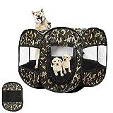 Tienda de Mascotas Camuflaje Plegable Lavable Octogonal al Aire Libre Cama de...