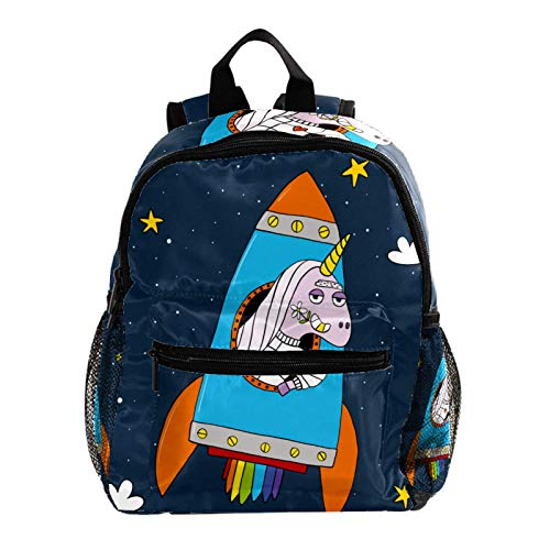 Cool Backpack Kids Sturdy Schoolbags Back to School Backpack for Boys Girls,Funny Unicorn with Rockets Galaxy Stars
