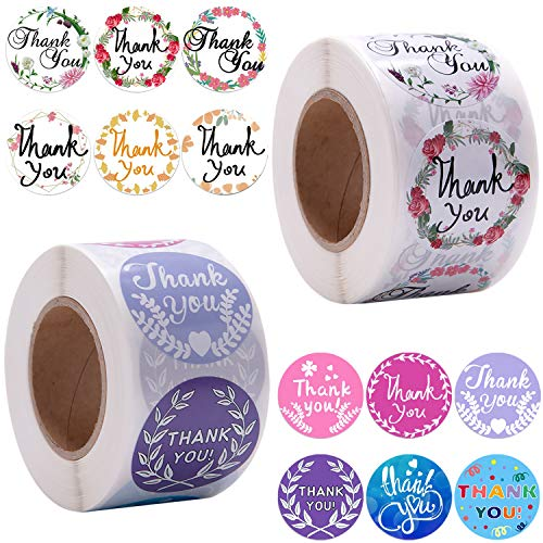 BQTQ 1000 Pieces Thank You Stickers Label 1.5 inch Round Thanks Sticker Roll 12 Designs Mail Stickers for Business Packaging, Bags, Boxes and Envelope Sealing, 500 Pieces Per Roll