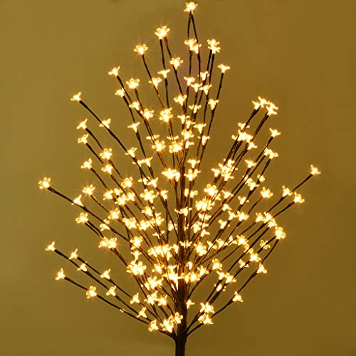 gofh LED Star Light Tree 5FT 120L LED Lighted Cherry Blossom Tree Warm Light for Families, Festivals, Parties, Christmas Decorations, Indoor and Outdoor Use(Black)