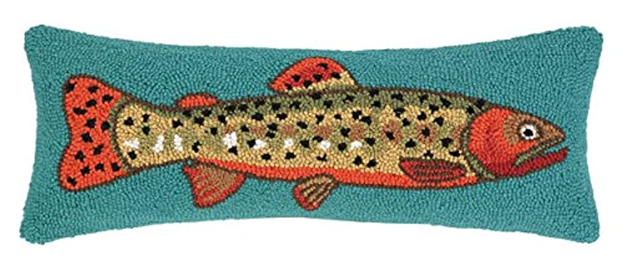 Peking Handicraft Trout Facing Right Hook Pillow, 8 by 22-Inch, Multicolor