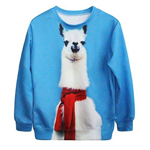 Ninimour Fashion Damen Digital Eindruck Sweatshirt Pullover Frühling Herbst Streetwear (one size, APL019-alpaca)