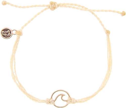 Pura Vida Rose Gold Wave OG Bracelet - Plated Charm, Adjustable Band - 100% Waterproof