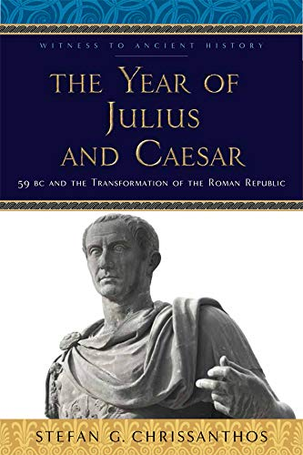 Book cover - yellow title on blue background with a stone statue of Julius Caesar