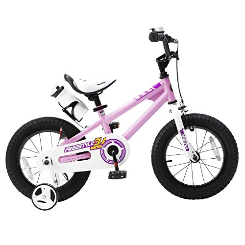RoyalBaby Kids Bike Boys Girls Freestyle BMX Bicycle with Training Wheels Kickstand Gifts for Children Bikes 16 Inch Pink