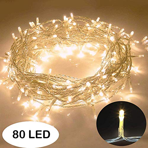 Galaxer Luces de Hadas 80 Pcs LED Night Christmas String Light 33Ft / 10M dos Modos Luz Constante/Parpadeo Luz Blanca Cálida Decoración para Cumpleaños de Navidad Fiesta