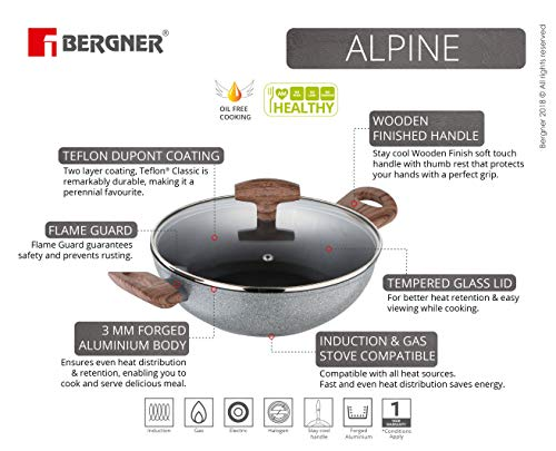 BERGNER Alpine Forged Aluminium Non-Stick Kadhai with Glass Lid, 24 cm, 2.16 Liters. Induction Base, Grey, 24 cm, 2.16 ltr