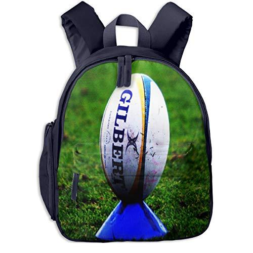 Kinderrucksack Rugby Ball auf Kicking Tee Babyrucksack Süßer Schultasche für Kinder 2-5 Jahre