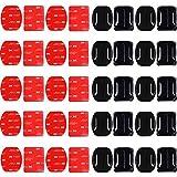Pegatinas Gopro para Casco, 40PCS Adhesivo de Montaje para Cámara de Acción, Casco Cámara Adhesivos Pegatinas Almohadillas, Accesorio de cámara Curvo + Soportes Adhesivos Planos, para Go Pro Hero