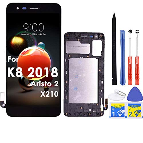 iFixmate LCD Screen Replacement Touch digitizer with Frame Housing Pre Assembled for LG SP200 Tribute Dynasty/K8 2018/Aristo 2 X210/Risio 3/Fortune 2/LM-X210M LM-X210MA X210TA (Black W/Frame)