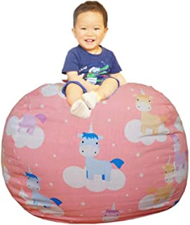 THECRAFTS Kids Stuffed Animal Storage Bean Bag Cover with Carrying Handle Sturdy Cotton Bean Bag Cover Perfect for Toys and Clothes Kids Gift, Size 33