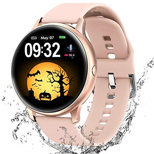 Reloj Inteligente para Hombre Mujer niños, Pulsera Actividad Fitness Tracker con 8 Modos Deportivos Cronómetro Pulsómetro, Monitorear la temperatura corporal Smartwatch para Android iOS (oro)