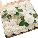 Floroom Artificial Flowers 25pcs Real Looking Ivory Foam Fake Roses with Stems for DIY Wedding Bouquets White Bridal Shower Centerpieces Arrangements Party Tables Decorations