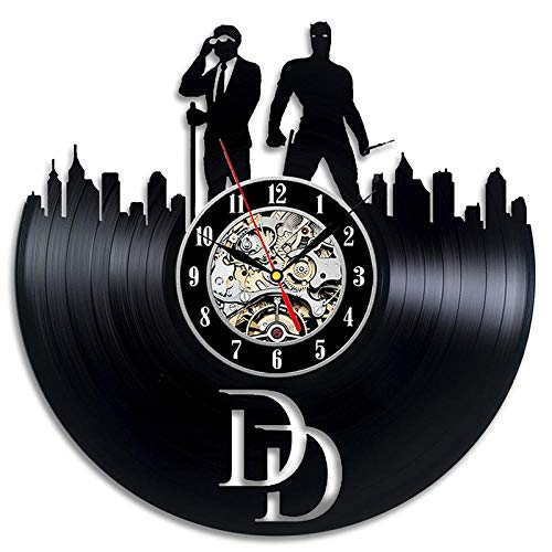 bnkrtopsu Daredevil Kunstdekoration kreatives Geschenk Vinylplatte Wanduhr Vinyl Material Klassische Home Retro Dekoration