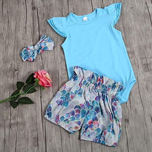 Baby T-shirt Shorts Hairband, traje de bebé de tres piezas, material de algodón casi puro, cómodo de llevar,(100)