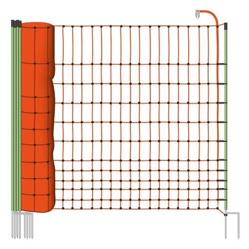 Malla eléctrica para gallinas y aves de corral, rollo de 50m de longitud y 112cm de altura, 16 postes con punta doble y kit de reparación