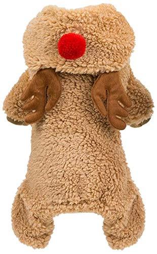 Zgywmz Kerst Huisdier Rendier Kostuum Teddy Hond Fleece Hoodie Jas Kleding Winter Warm Jumpsuit Outfit Kleding voor Feestelijke Vakantie Feest Cosplay (XL Bruin), XXL, BRON