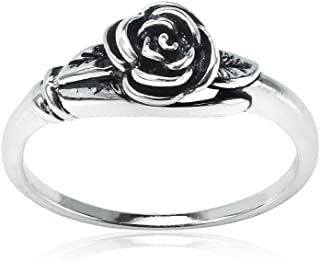 Sterling Silver Oxidized Flower Rose Ring