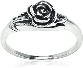 Hoops & Loops Sterling Silver Oxidized Flower Rose Ring
