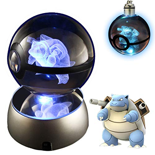 COOLINKO 3D Crystal Ball LED Night Light with LED Keychain Laser Engraving (Blastoise)