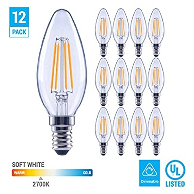 (12 Pack) 60-Watt Equivalent LED E12 Candelabra Base B11 Dimmable Clear Filament Vintage Style Light Bulb 2700K Warm White Decorative 60W LED Chandelier Ceiling Fan Bulbs.