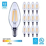 (12 Pack) 60-Watt Equivalent LED E12 Candelabra Base B11 Dimmable Clear Filament Vintage Style Light Bulb 2700K Warm White Decorative 60W LED Chandelier Ceiling Fan Bulbs.