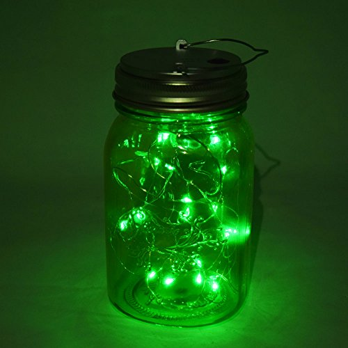 Fantado Wide Mouth Light Lime Mason Jar Light w/Hanging Green Fairy LED Kit by PaperLanternStore