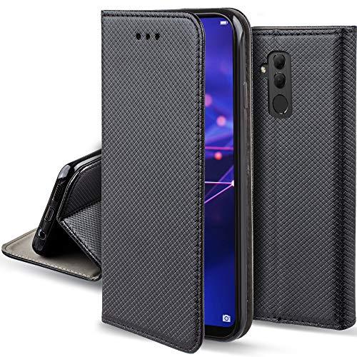 Moozy Funda para Huawei Mate 20 Lite, Negra - Flip Cover Smart Magnética con Soporte y Cartera para Tarjetas