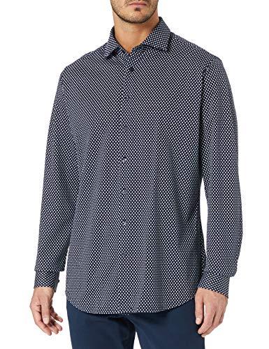 Seidensticker Herren Shaped Fit Langarm Jersey Hemd, Blau (Blau 19), (Herstellergröße: 43)